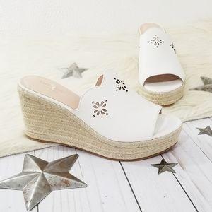 Kate Spade Tenley platform wedge sandals white NEW